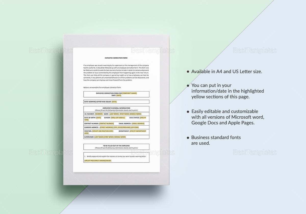 Employee Correction Form Te