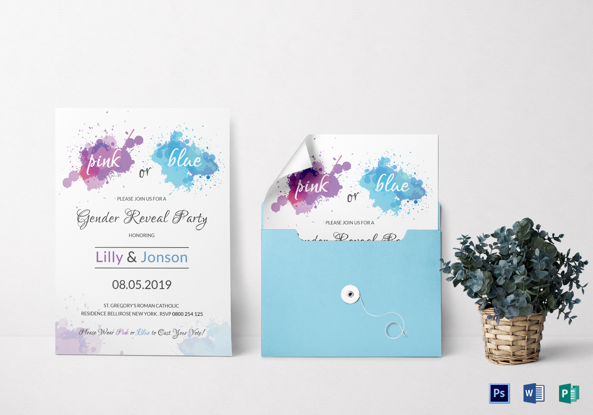 Watercolor Gender Reveal Invitation Party