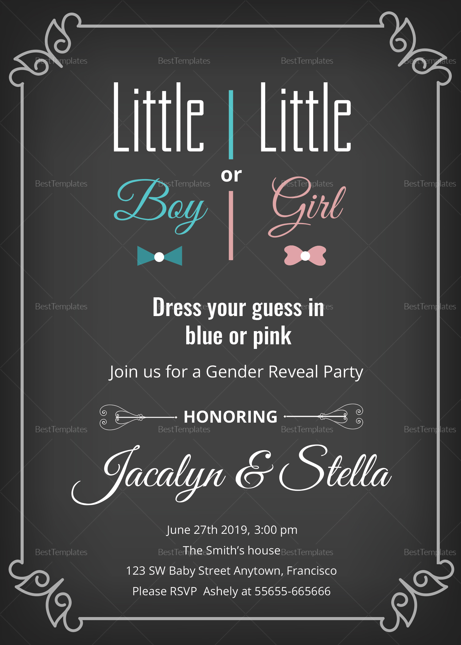 Gender Reveal Party Invitation Card Design