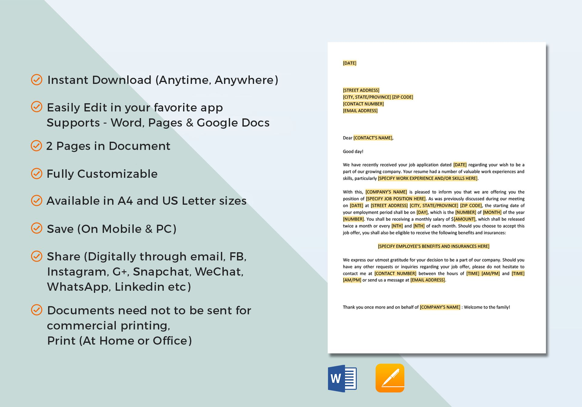 employment offer letter template in word google docs apple pages