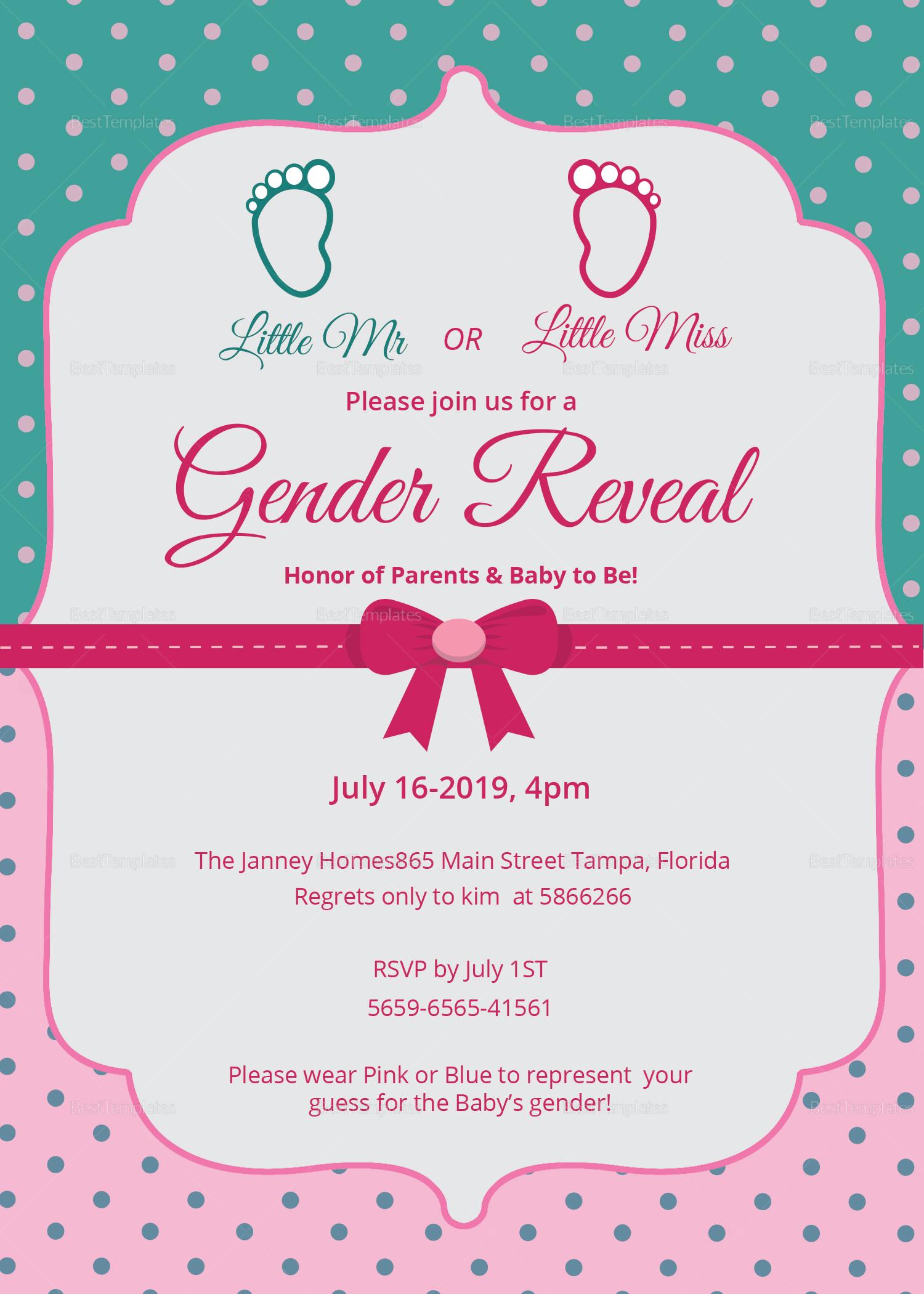 Elegant Gender Reveal Invitation Card Design