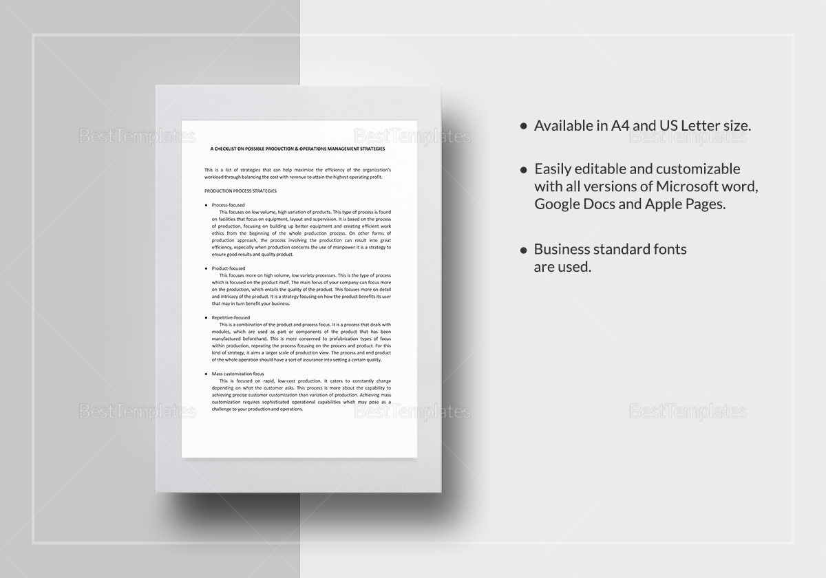 Possible Production & Operations Management Strategies Template