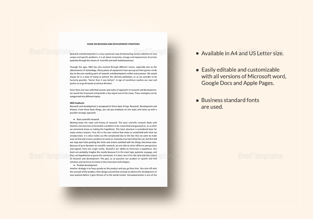Possible Research and Development Strategies Template