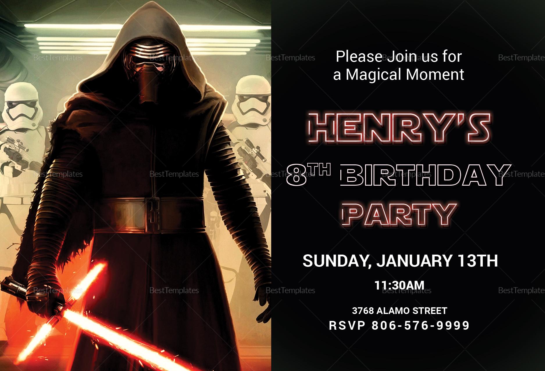 Lego Themed Star Wars Birthday Invitation Template
