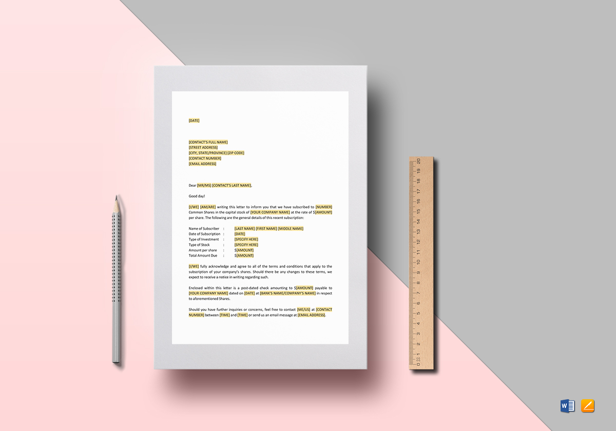 Letter Examples for a Subscription of Shares