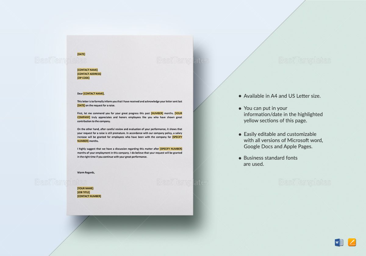 Commendation and Refusal of Request for Raise Template