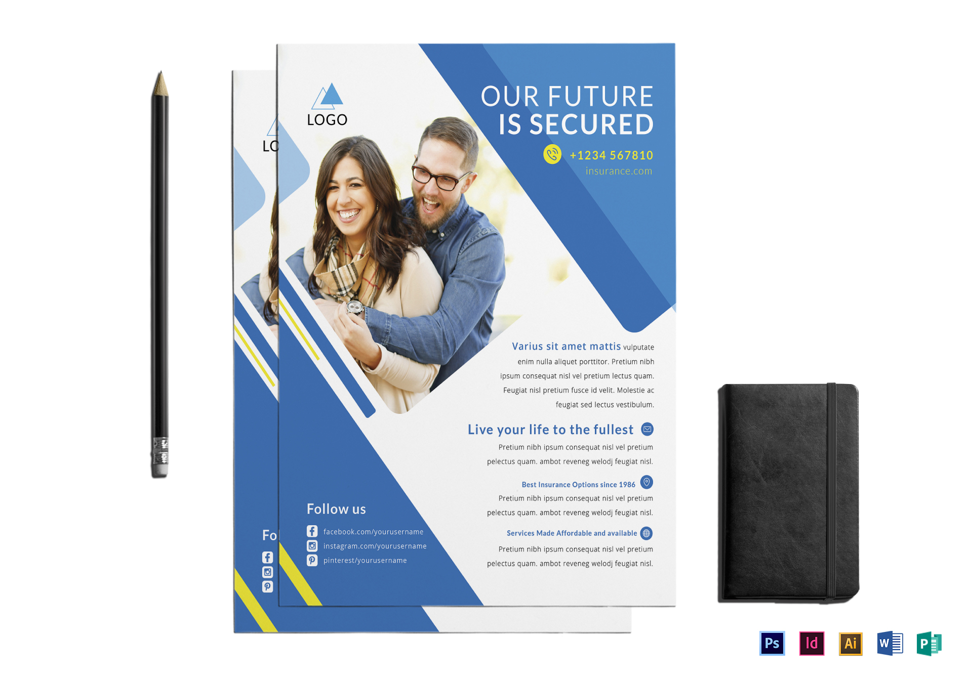 Insurance Agency Flyer Design Template In PSD Word Publisher - Insurance brochure template