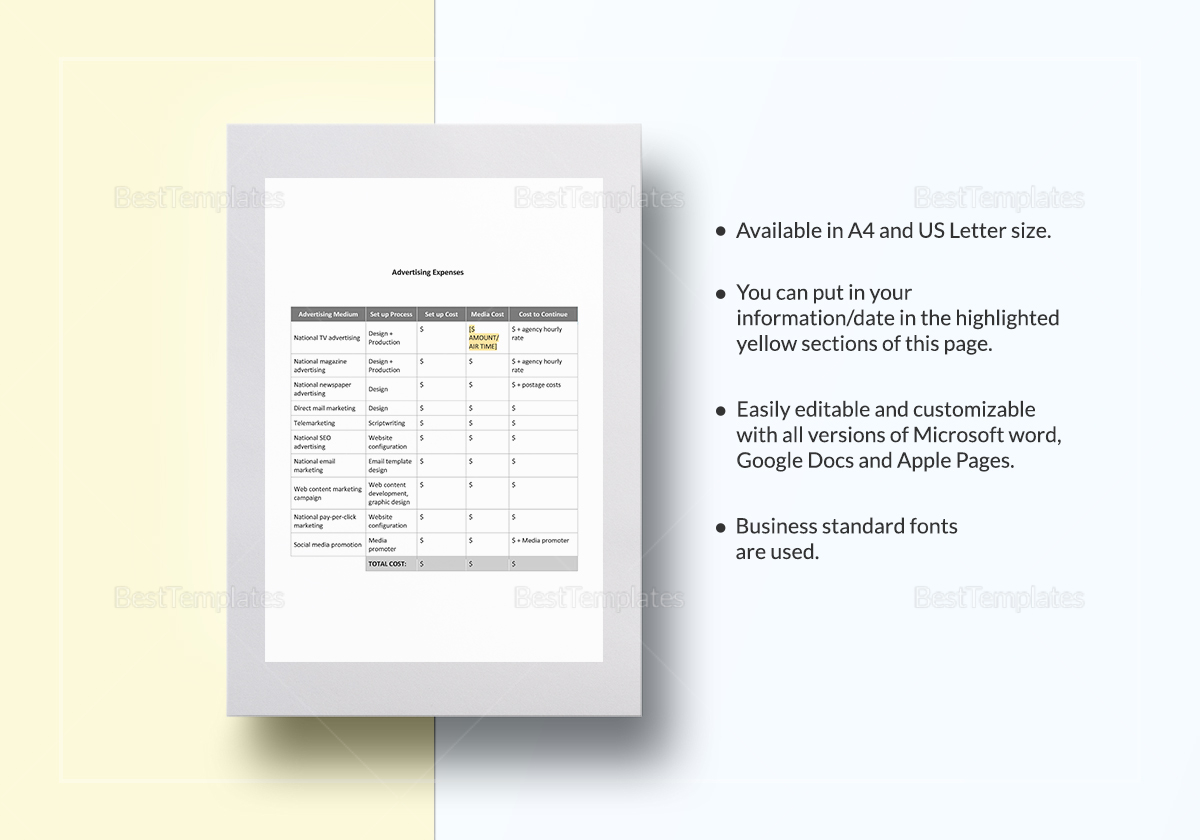 Advertising Expenses Template