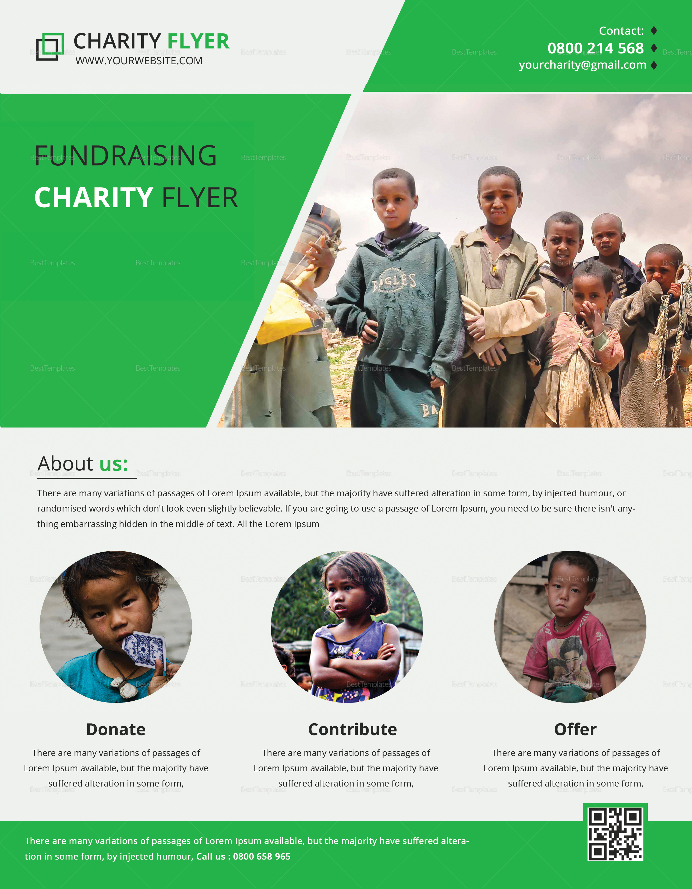 charity fundraising flyer print design template in psd word