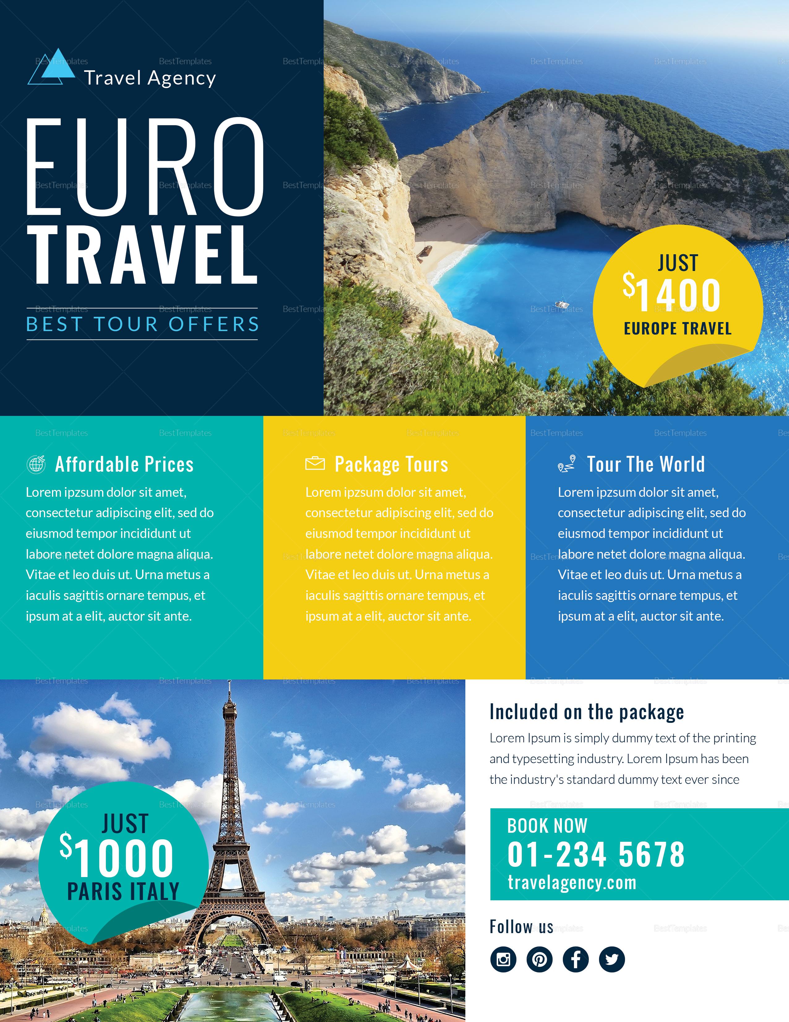 Travel agency marketing flyer design template in psd word travel agency marketing flyer template maxwellsz