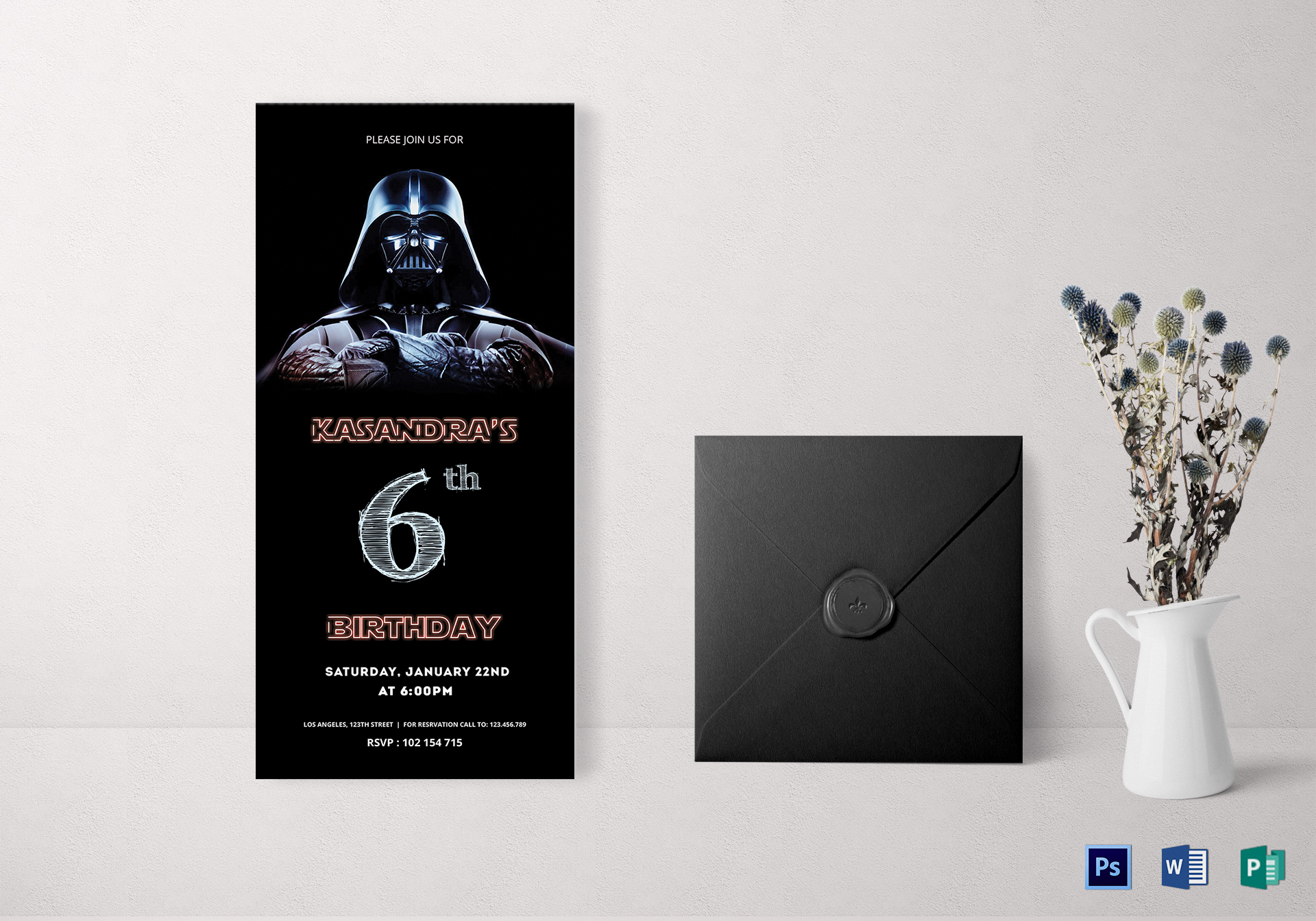 Robot Star Wars Birthday Invitation Card Template
