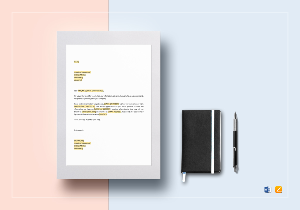 Request to Locate Former Employee Template