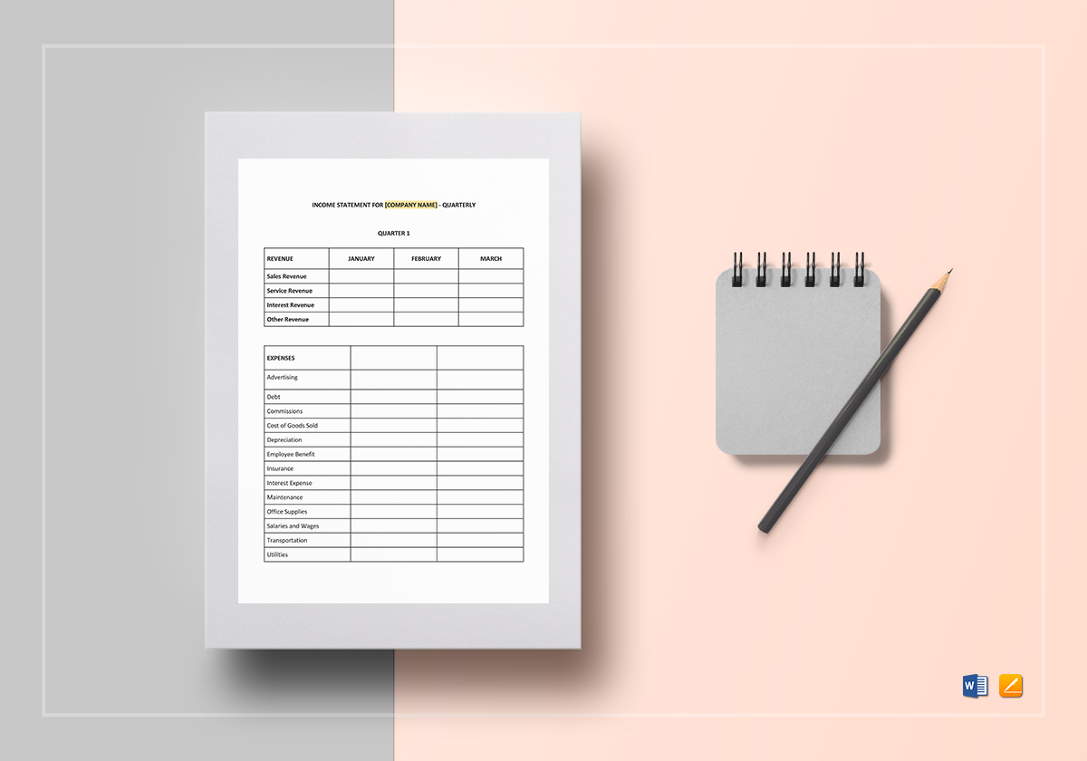 quarterly income statement template in word google docs apple pages