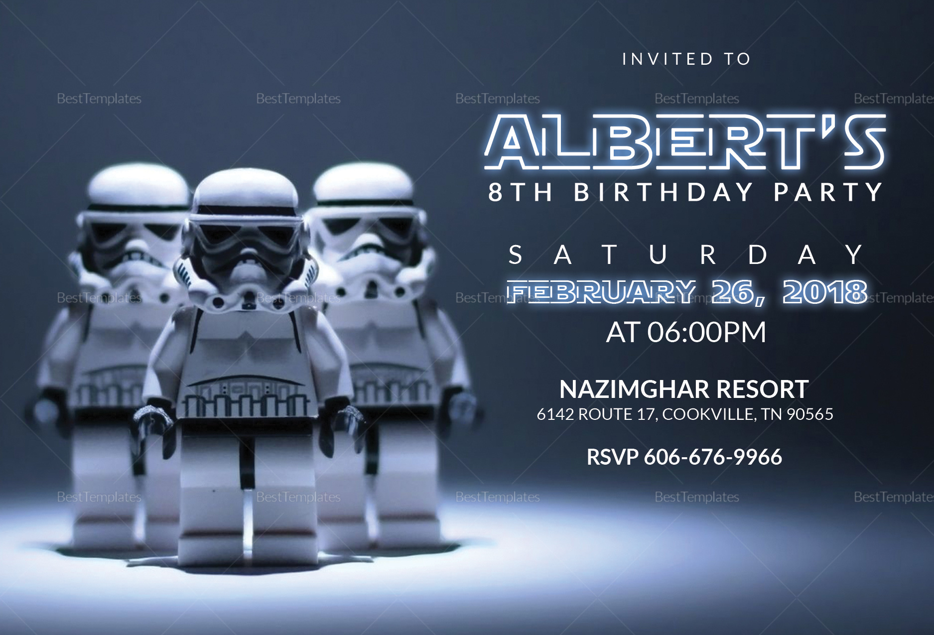 Robot Star Wars Birthday Party Invitation Card Design Template