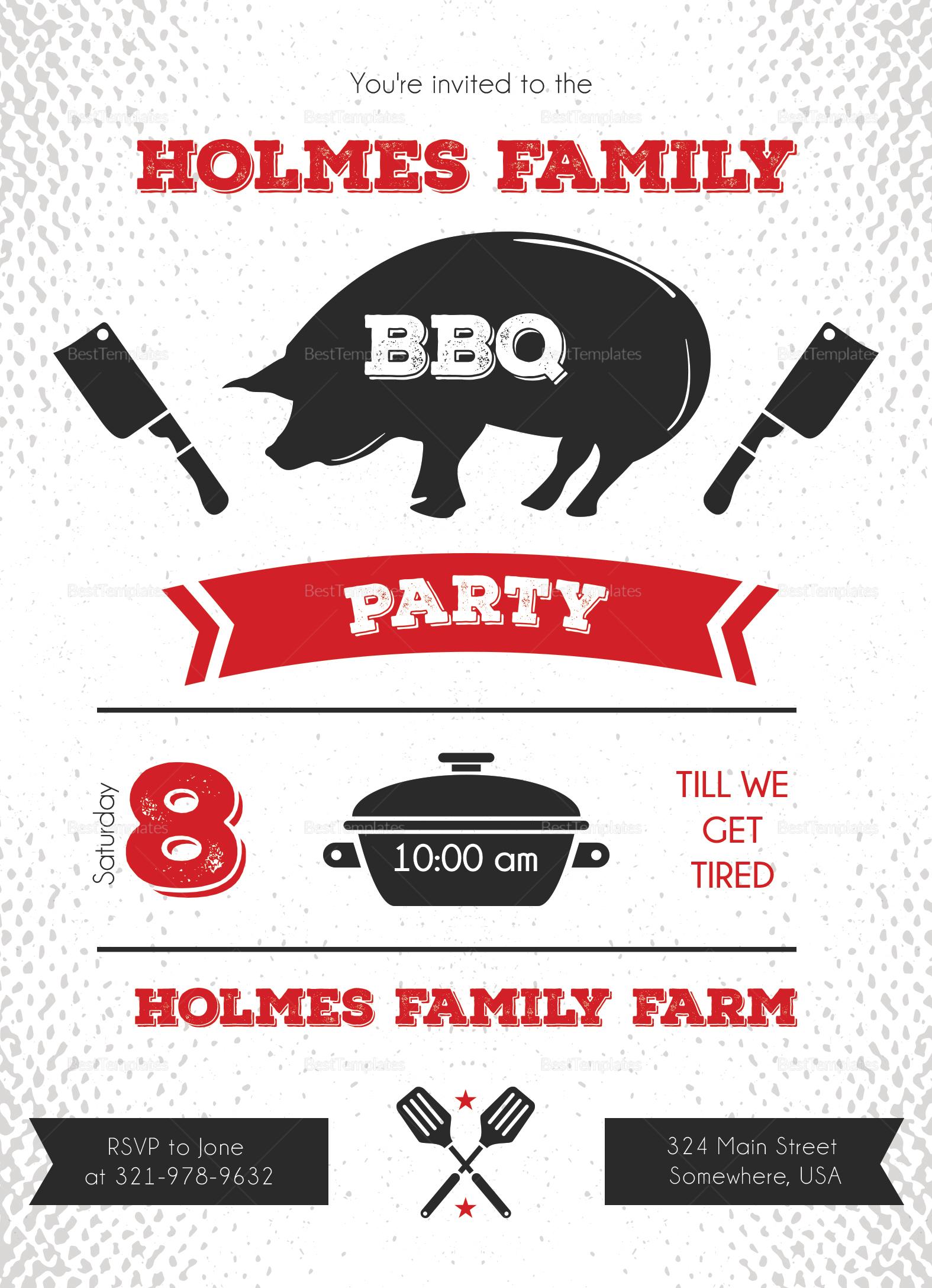 Family Reunion BBQ Invitation Design