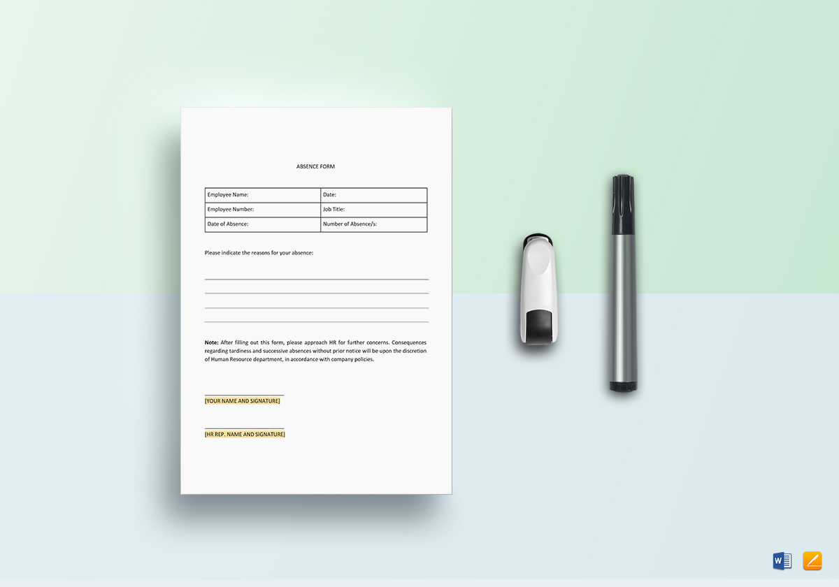 Staff Absence Template