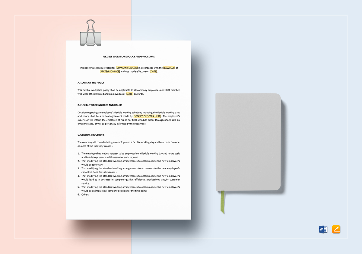 flexible workplace policy and procedure template in word google docs apple pages
