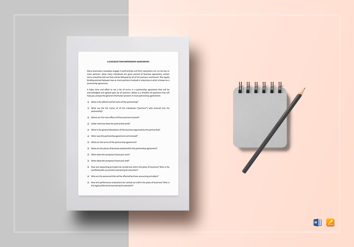 Checklist Partnership Agreement