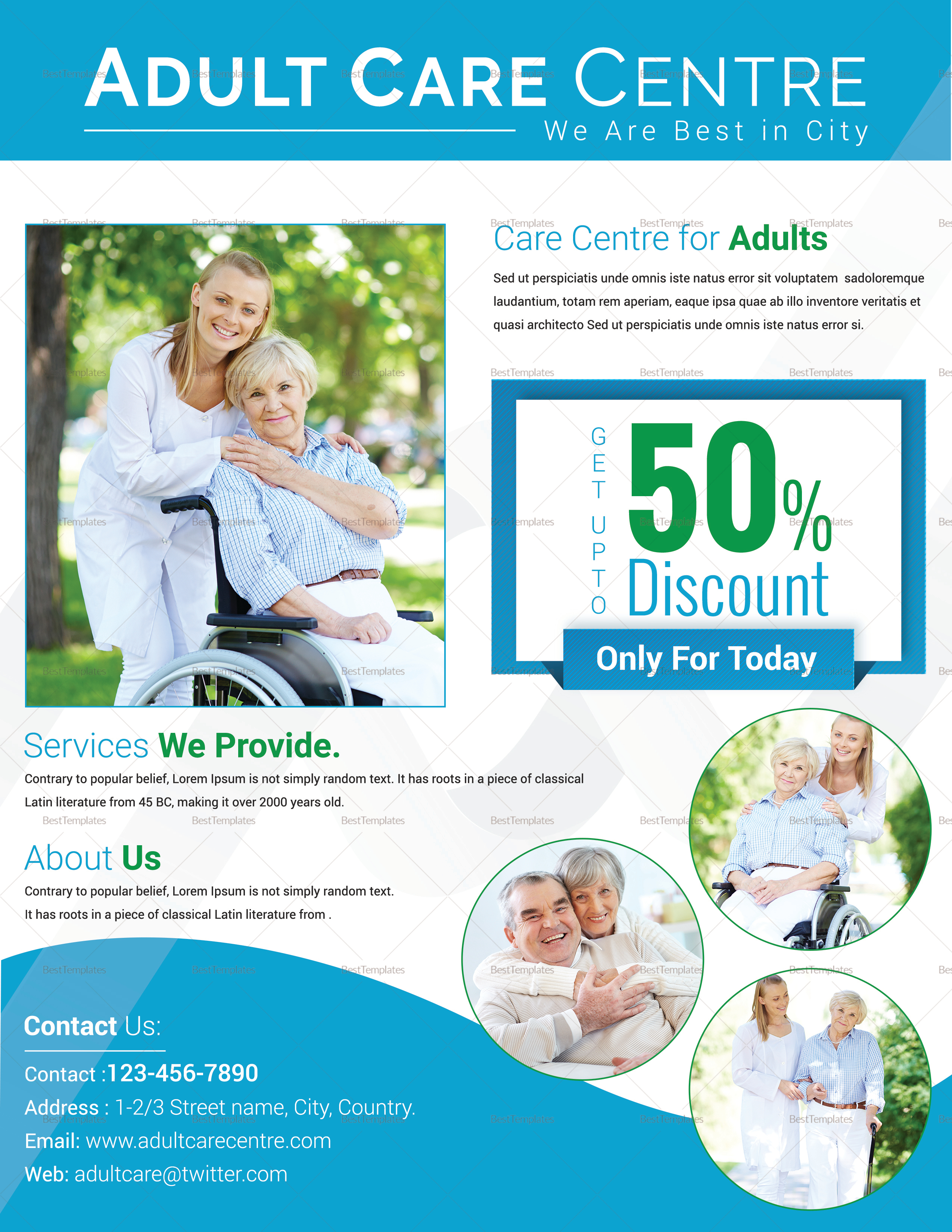 Adult Day Care Center Flyer Design Template in PSD, Word, Publisher