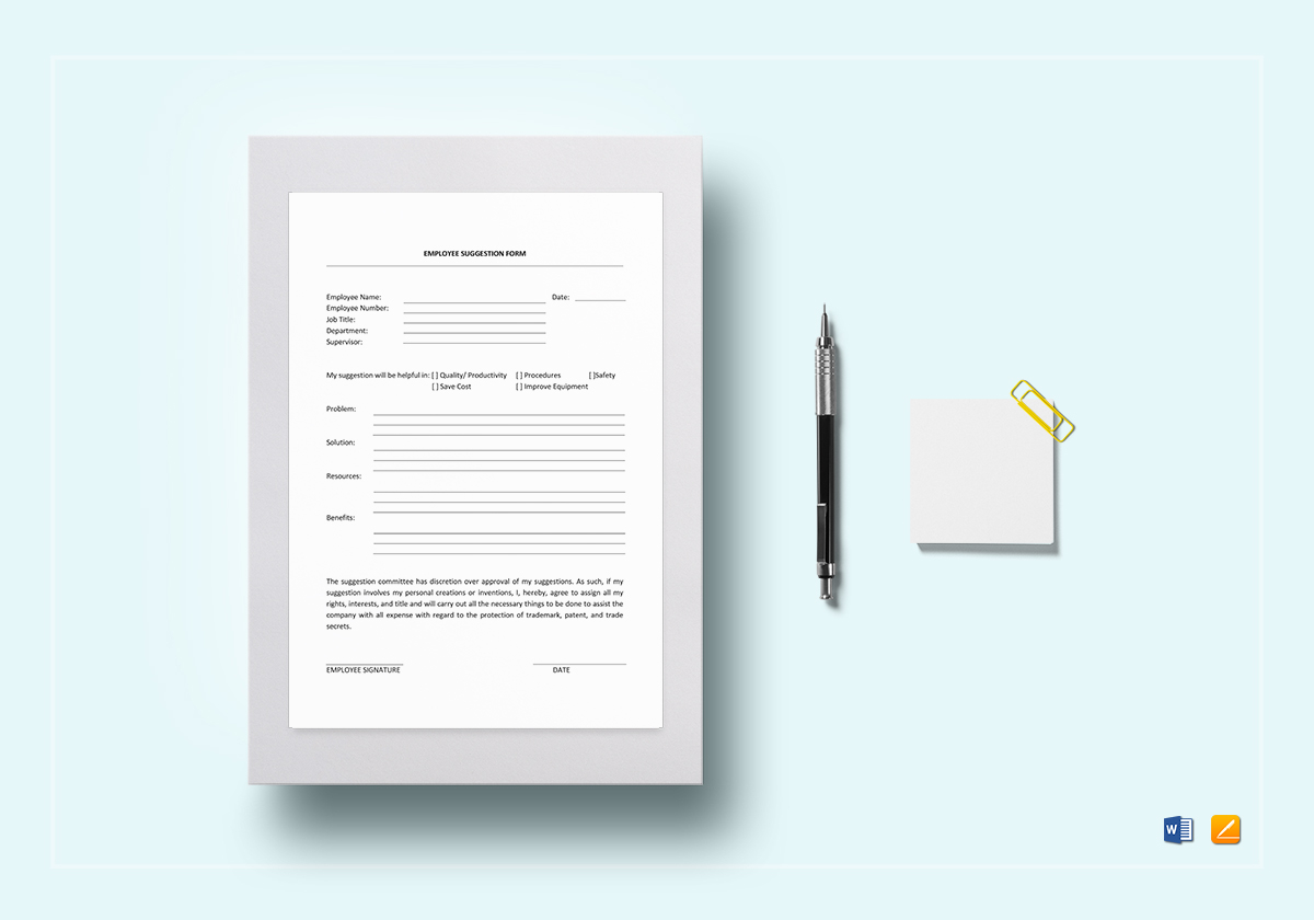 Employee Suggestion Template In Word Google Docs Apple Pages