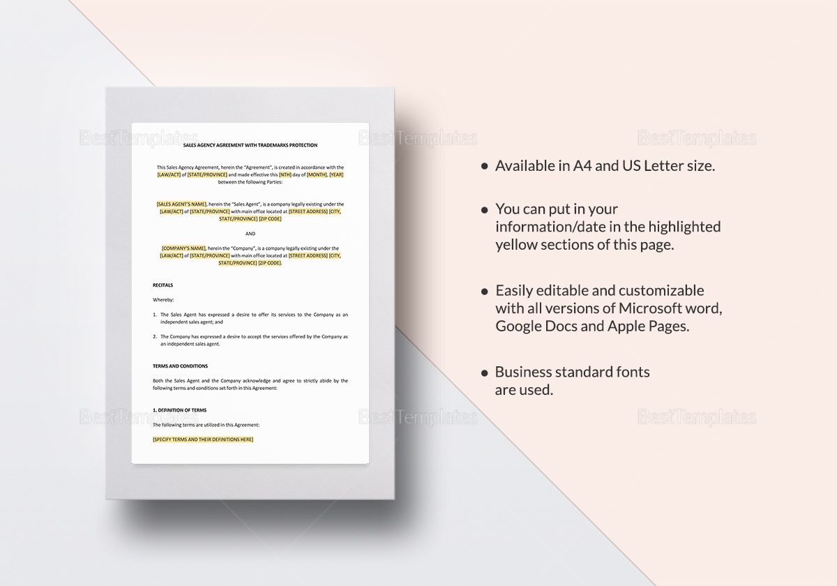 Sales Agency Agreement With Trademarks Protection Template