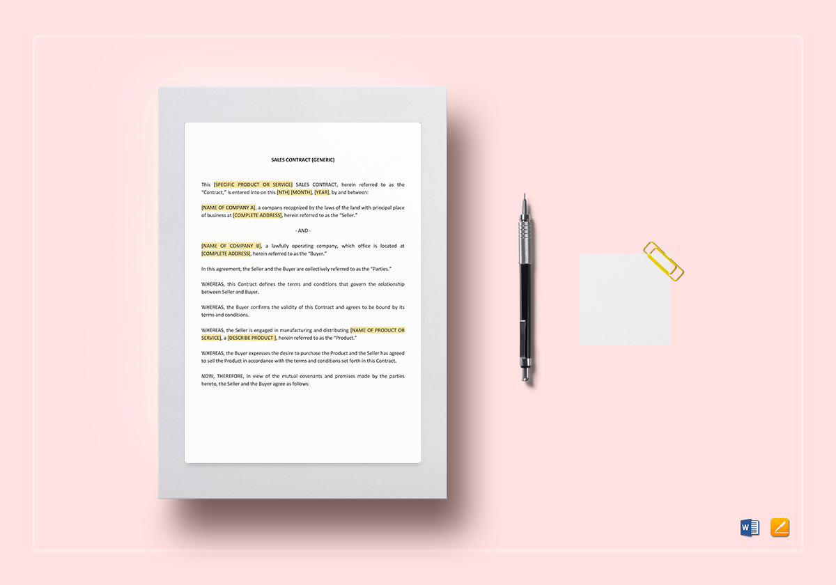 Sales Contract Template In Word Google Docs Apple Pages