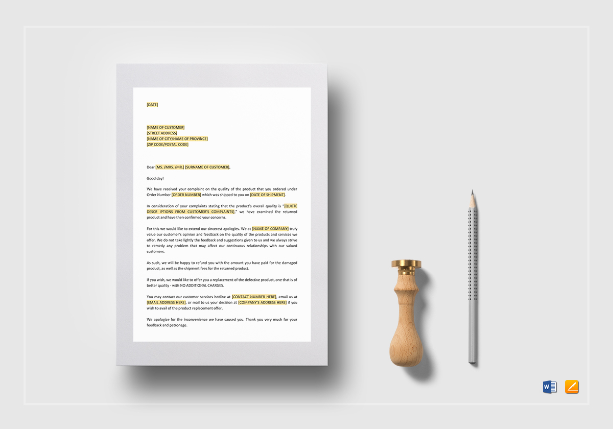 Apology letter dissatisfied with quality of product template in word apology letter dissatisfied with quality of product spiritdancerdesigns Images