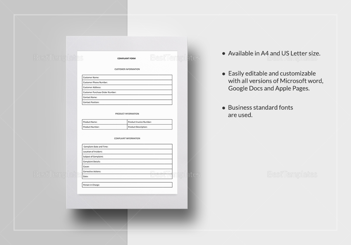 Customer Complaint Form Template