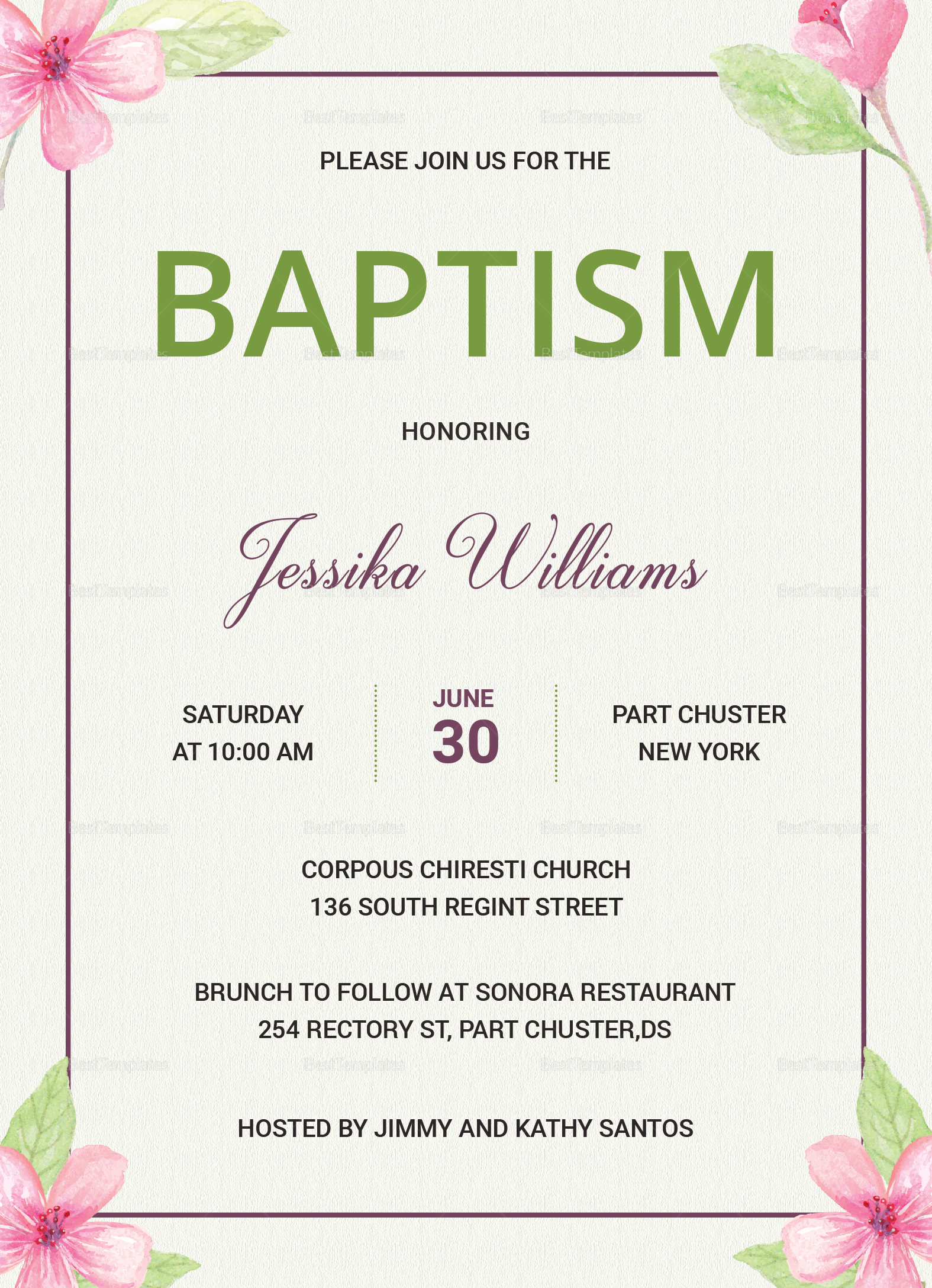 Floral Baptism Invitation Card Design Template