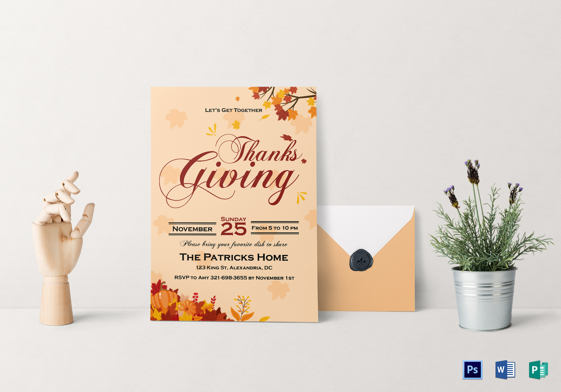 Get Together Thanks Giving Invitation Card