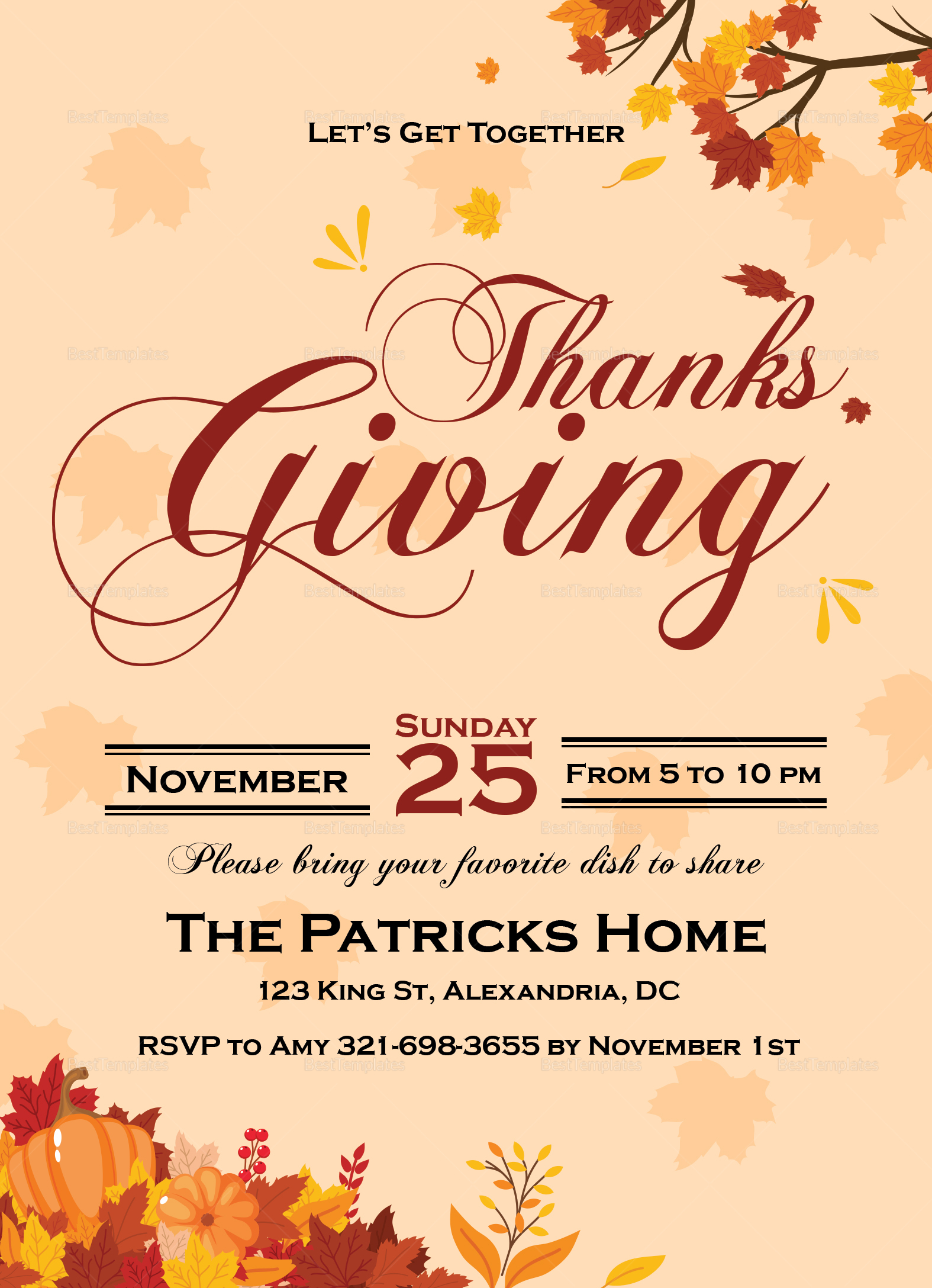 get together thanks giving invitation card design template in word