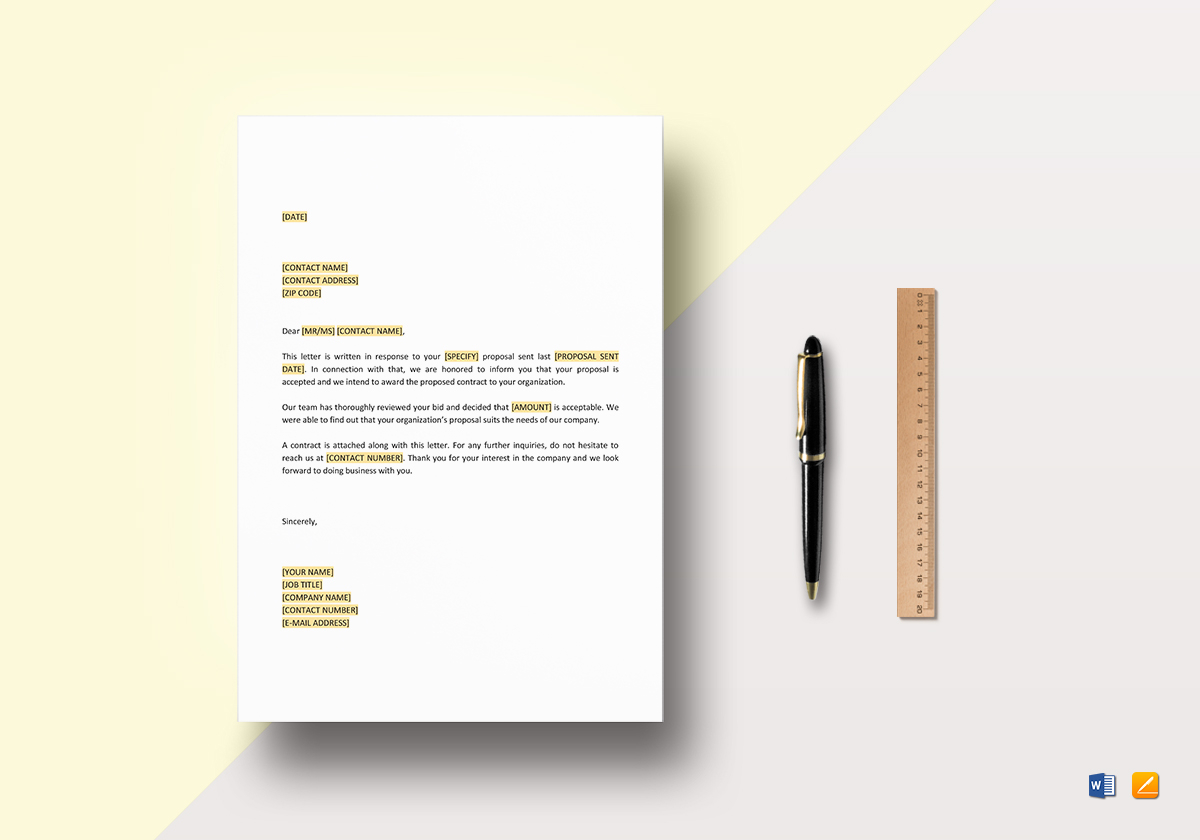Awarding Contract Letter Template