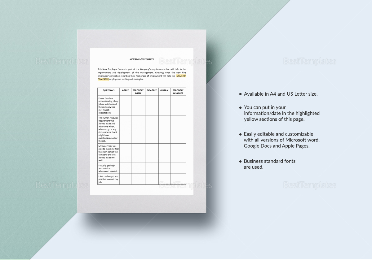 new employee survey template in word google docs apple pages. Black Bedroom Furniture Sets. Home Design Ideas