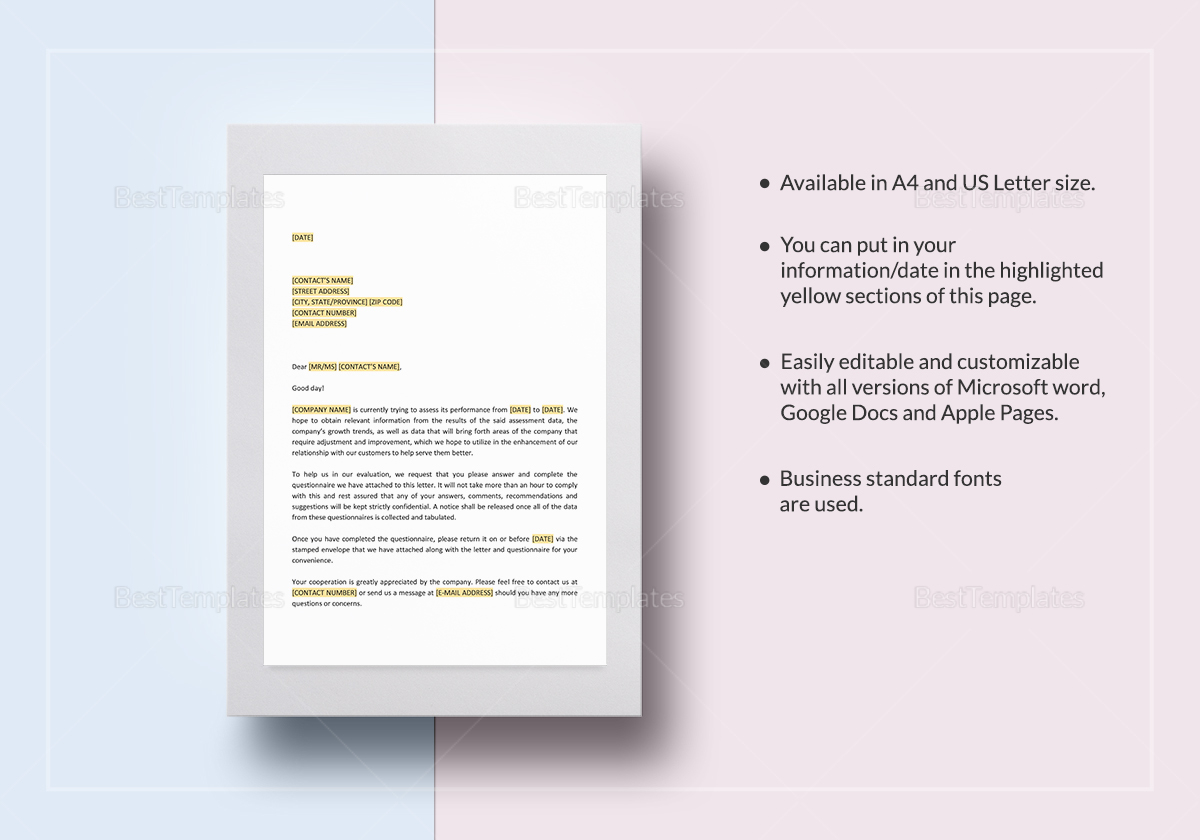Please Complete the Enclosed Questionnaire Template