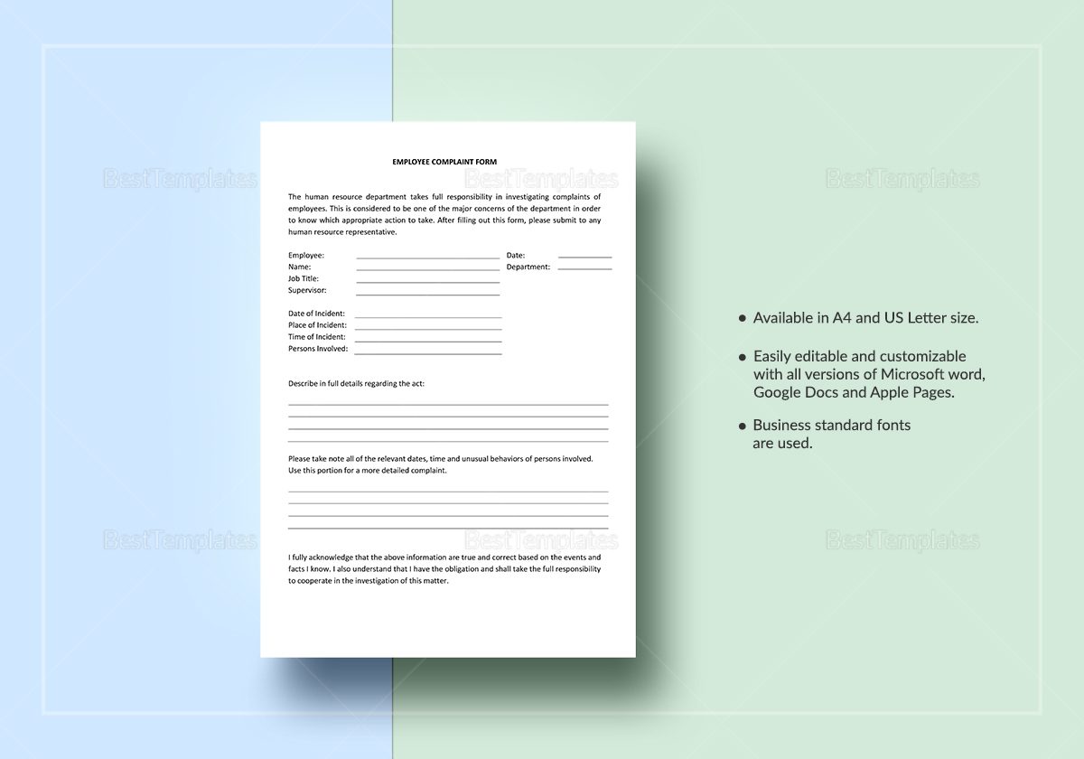 Employee Complaint Form T