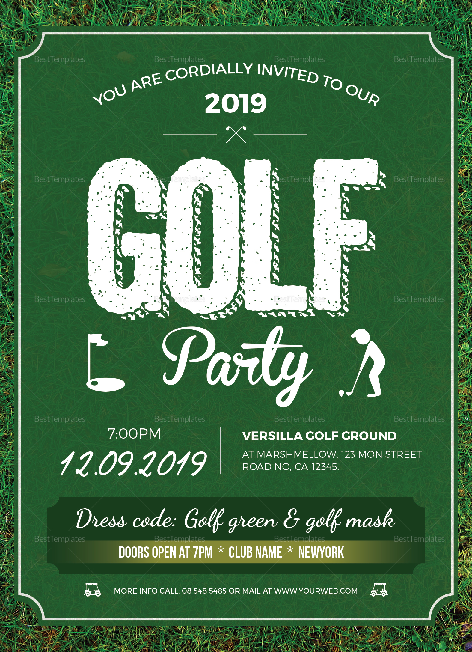 golf party invitation design template in word  psd  publisher