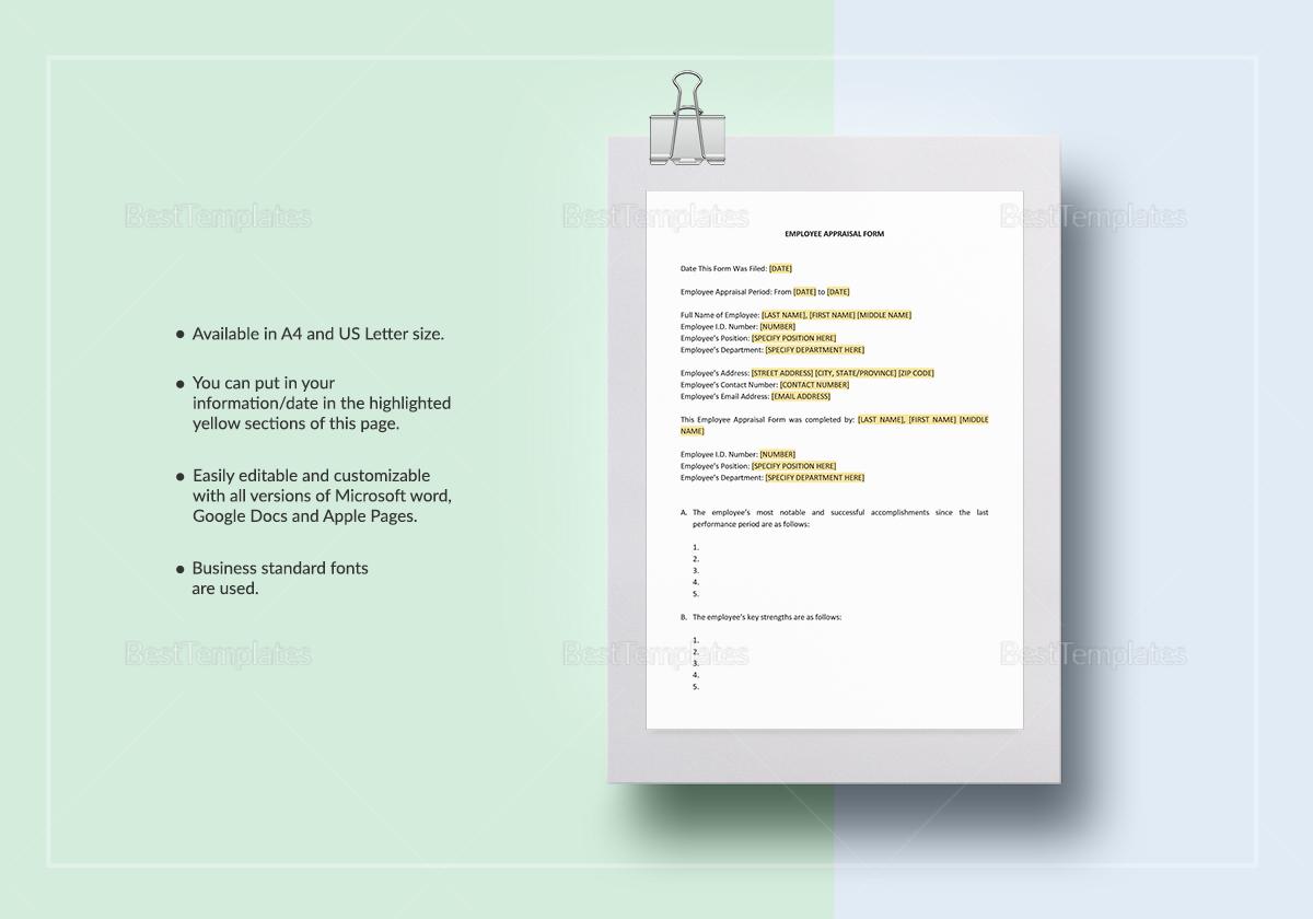 Employee Appraisal Form Te