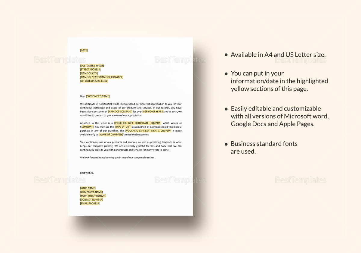 Thanks Giving Letter to Customers Template