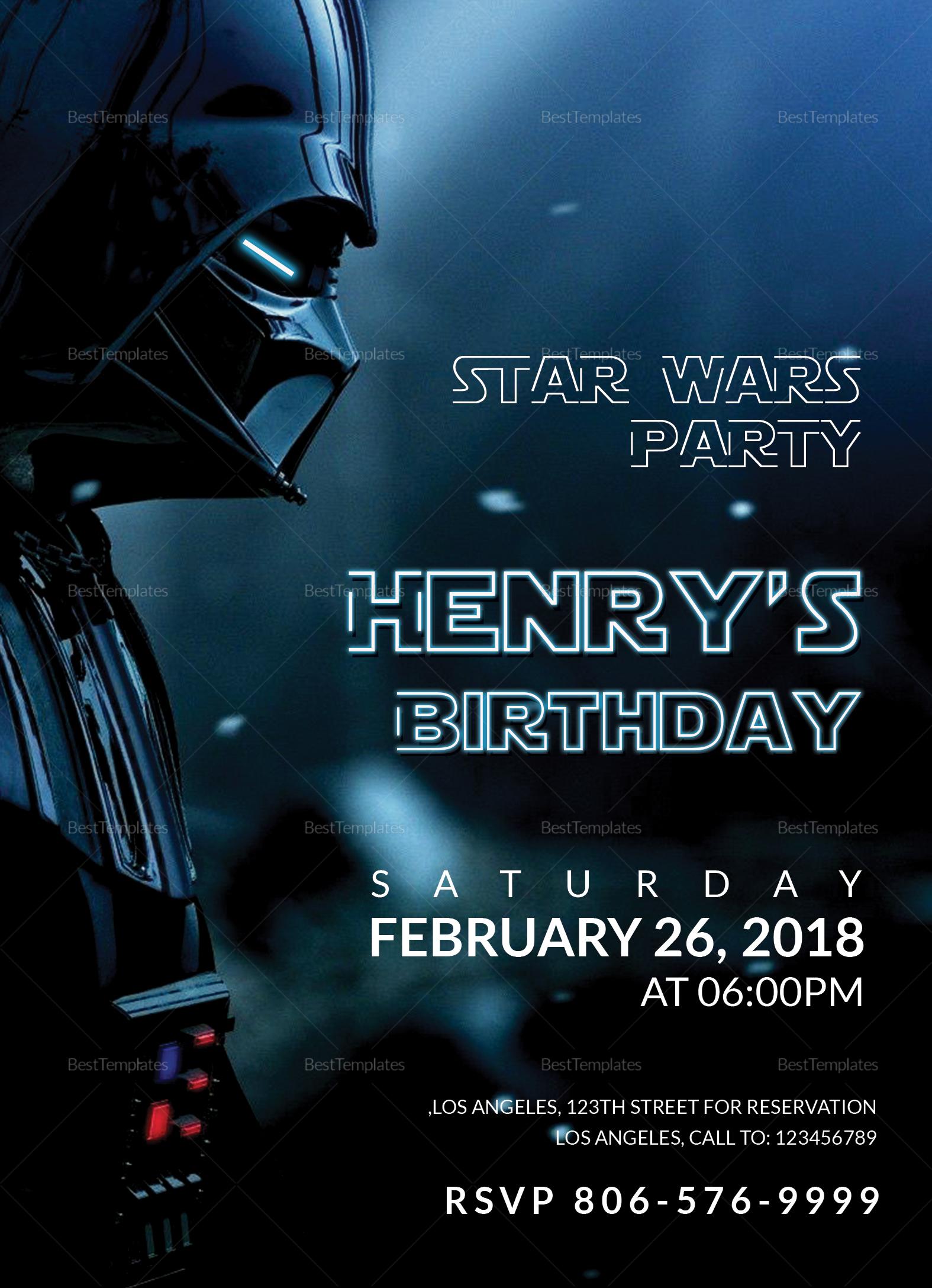 Star Wars Birthday Party Invitation Design Template