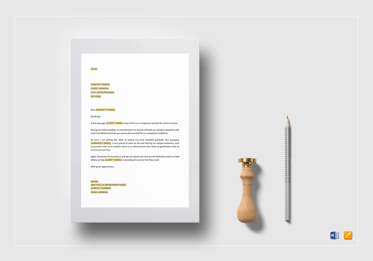 Thank You For Customer Referral Template In Word Google Docs Apple