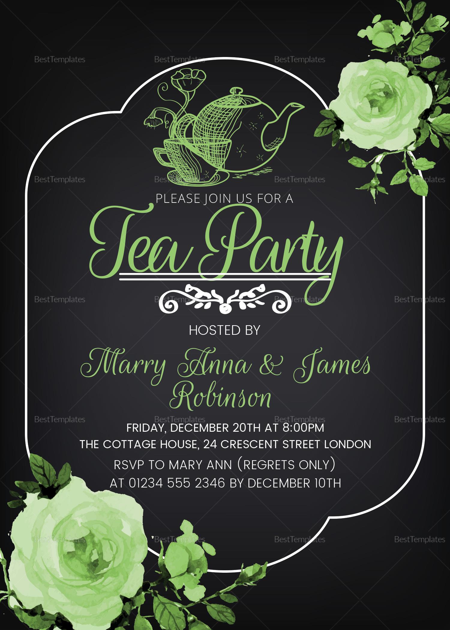 Tea Party Invitation Card Design Template