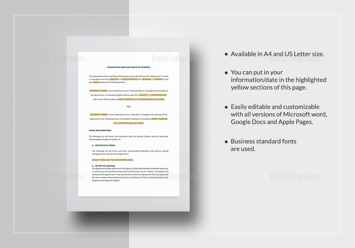 Subscription Form and Power of Attorney Tem