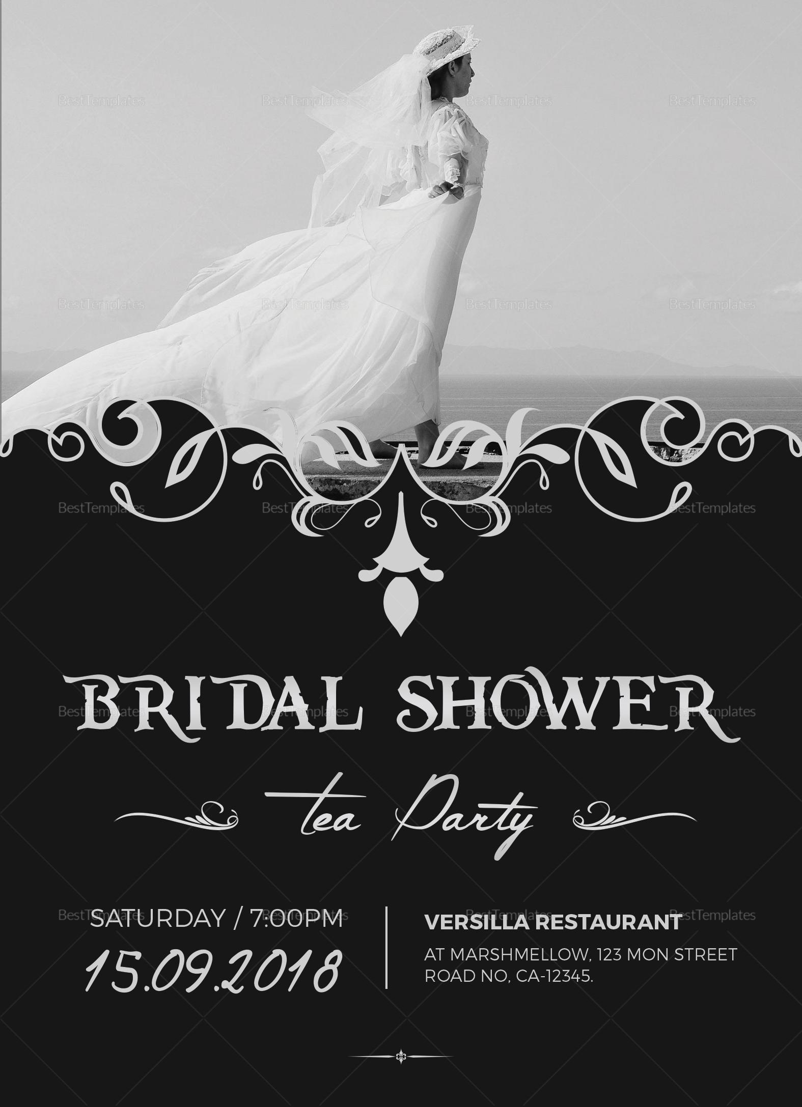 Bridal Shower Tea Party Invitation Design Template