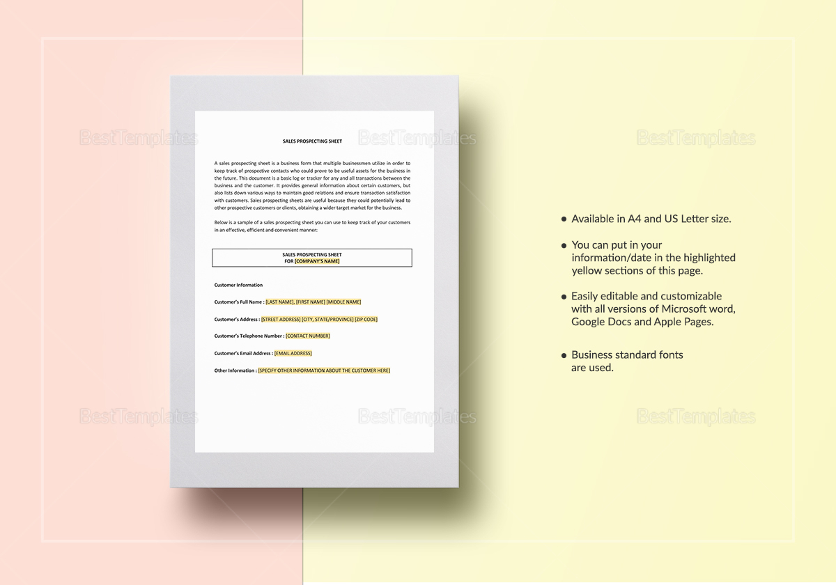 Prospecting Sheet Template