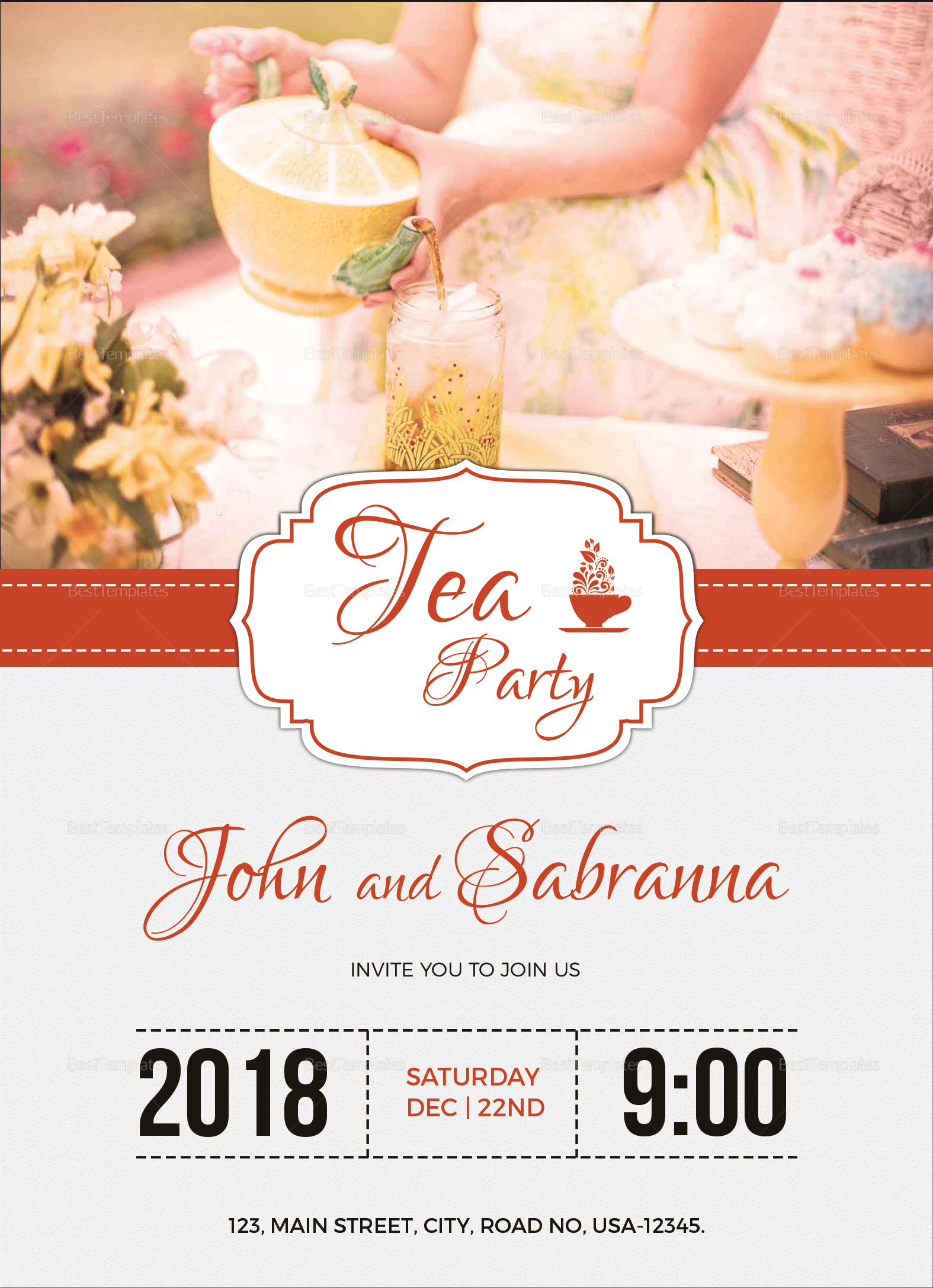 modern tea party invitation design template in word psd publisher