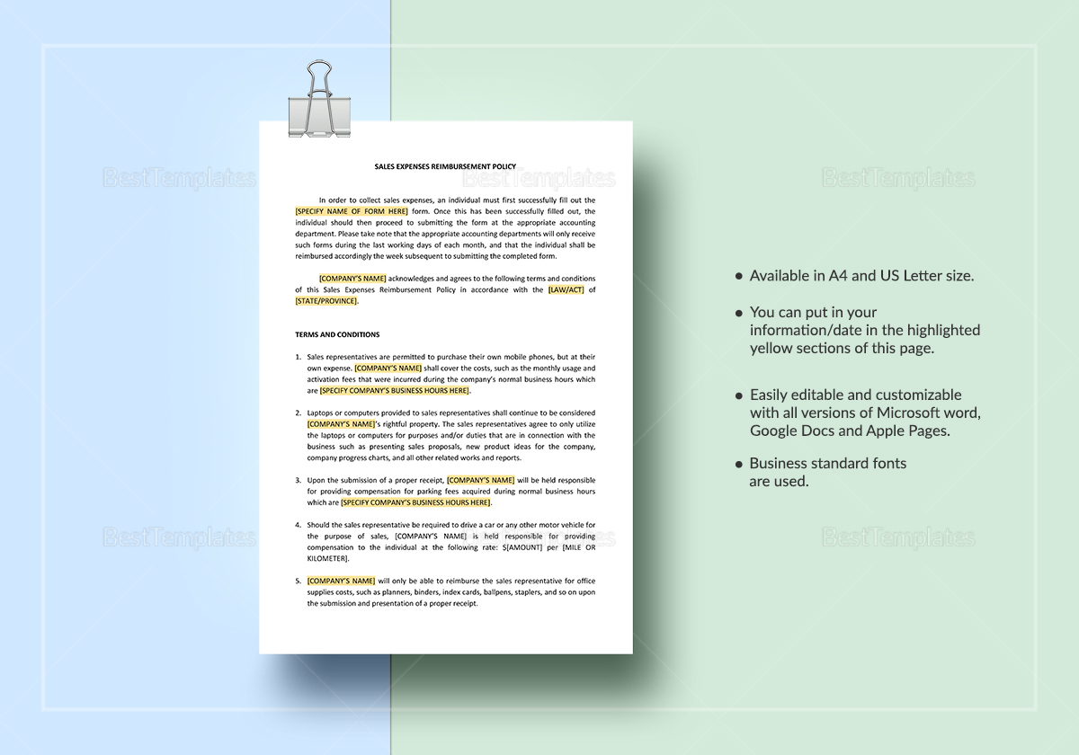 Sales Expenses Reimbursement Policy Template