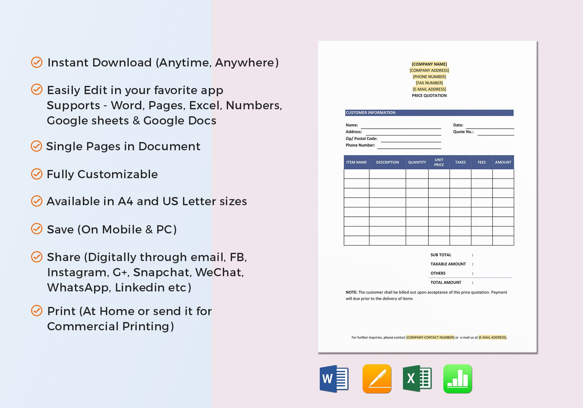 Price Quotation Template in Word, Excel, Google Docs, Apple Pages ...