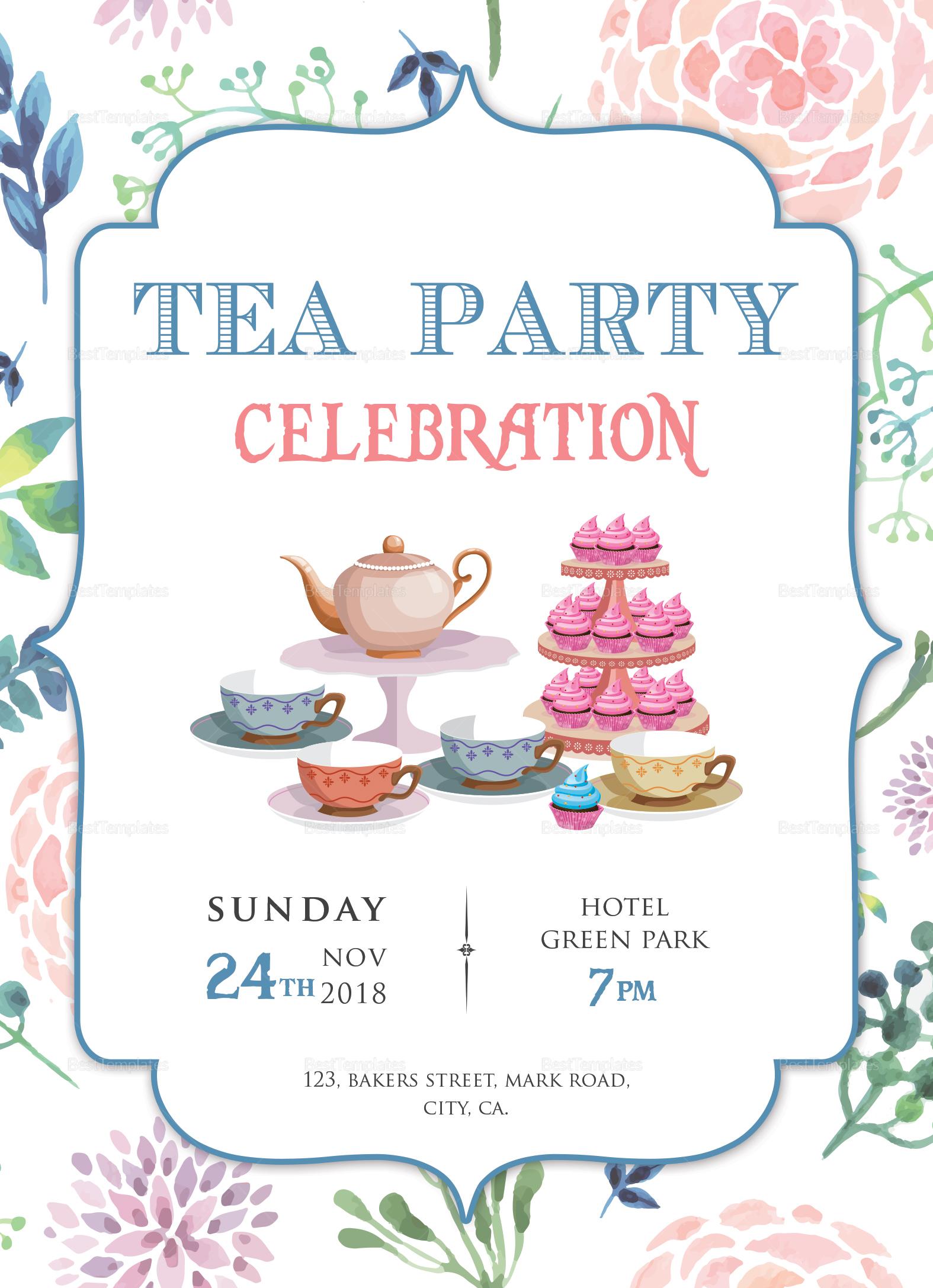 elegant tea party invitation design template in word  psd