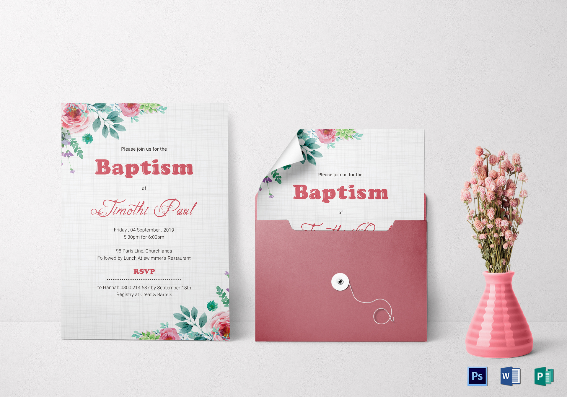 Baptism Invitation Card Design Template In Word Psd Publisher
