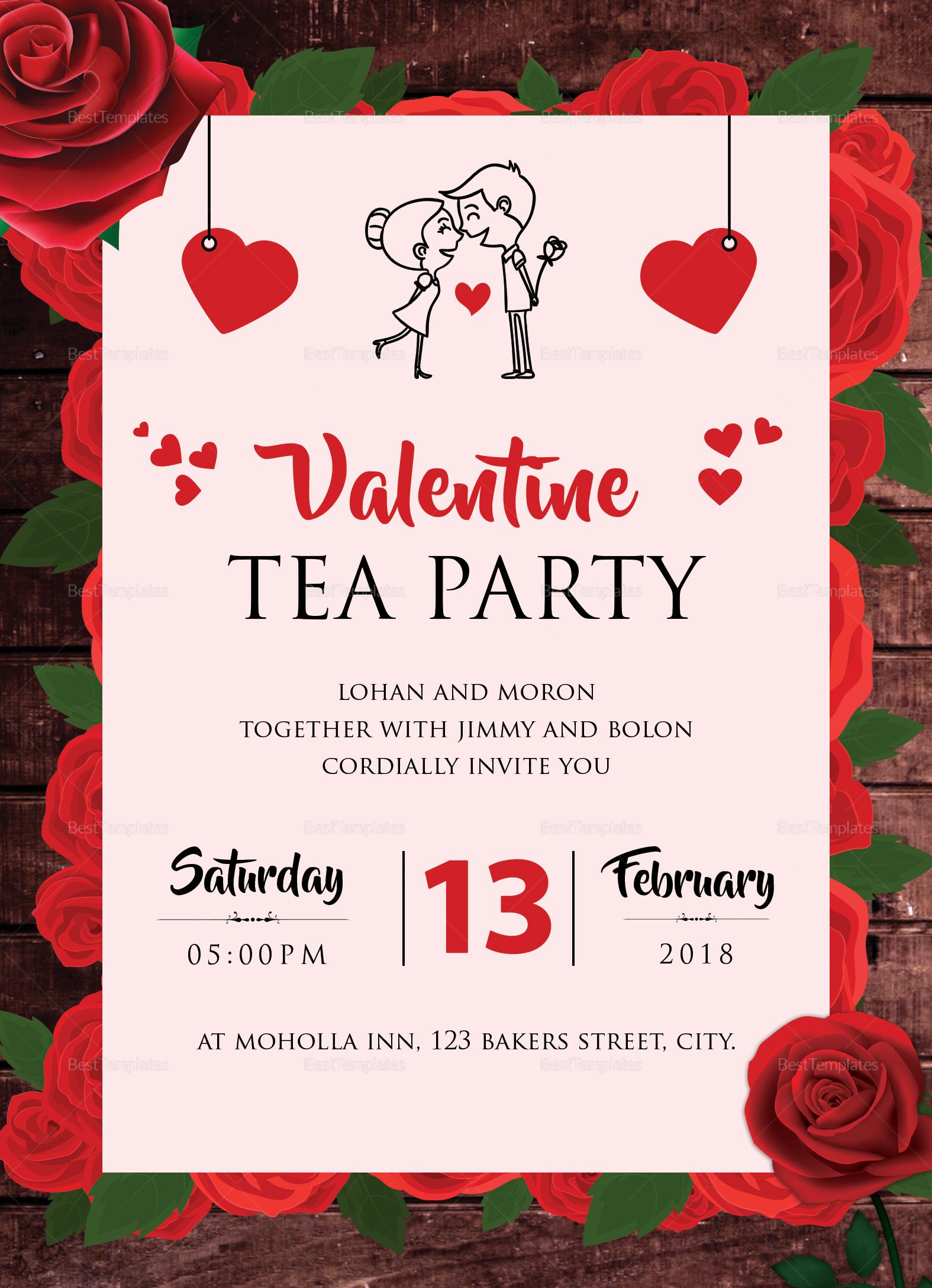 Valentine Tea Party Invitation Design Template